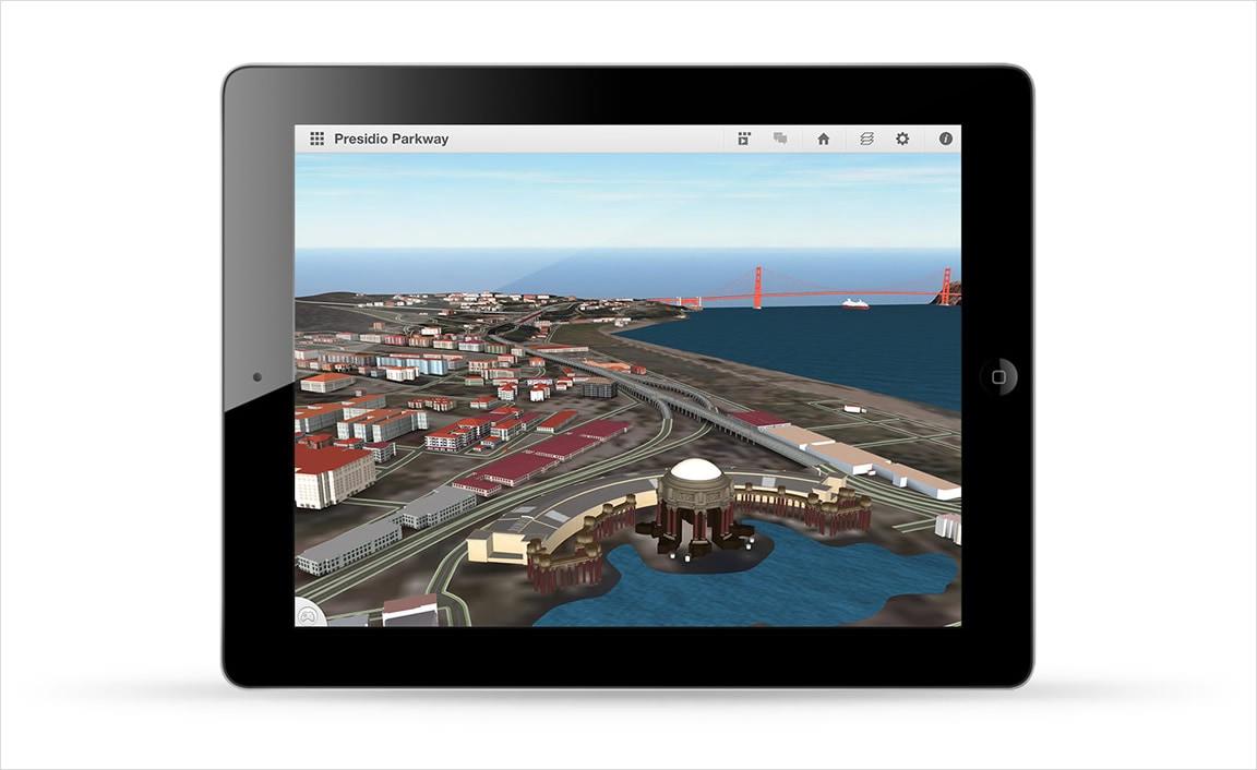 iPad を使ってモデルやシナリオを表示します。
