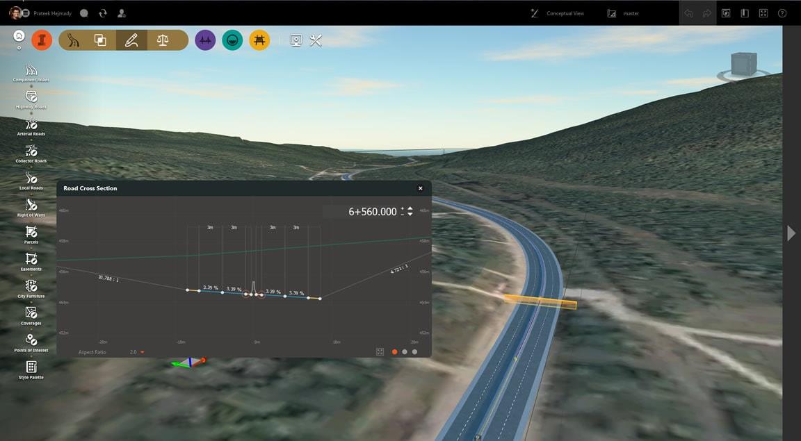 地形解析に役立つ道路および交差の断面ビュー