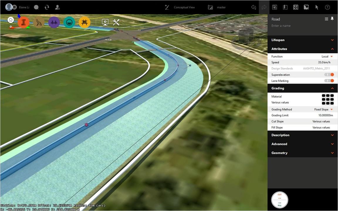 拡張された路側のグレーディング機能を含む、コンセプト デザイン機能