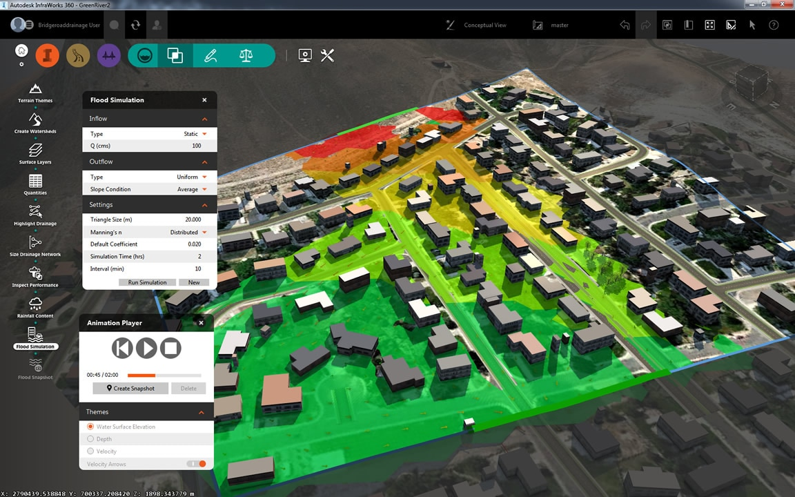 Site analysis tools include flood simulation