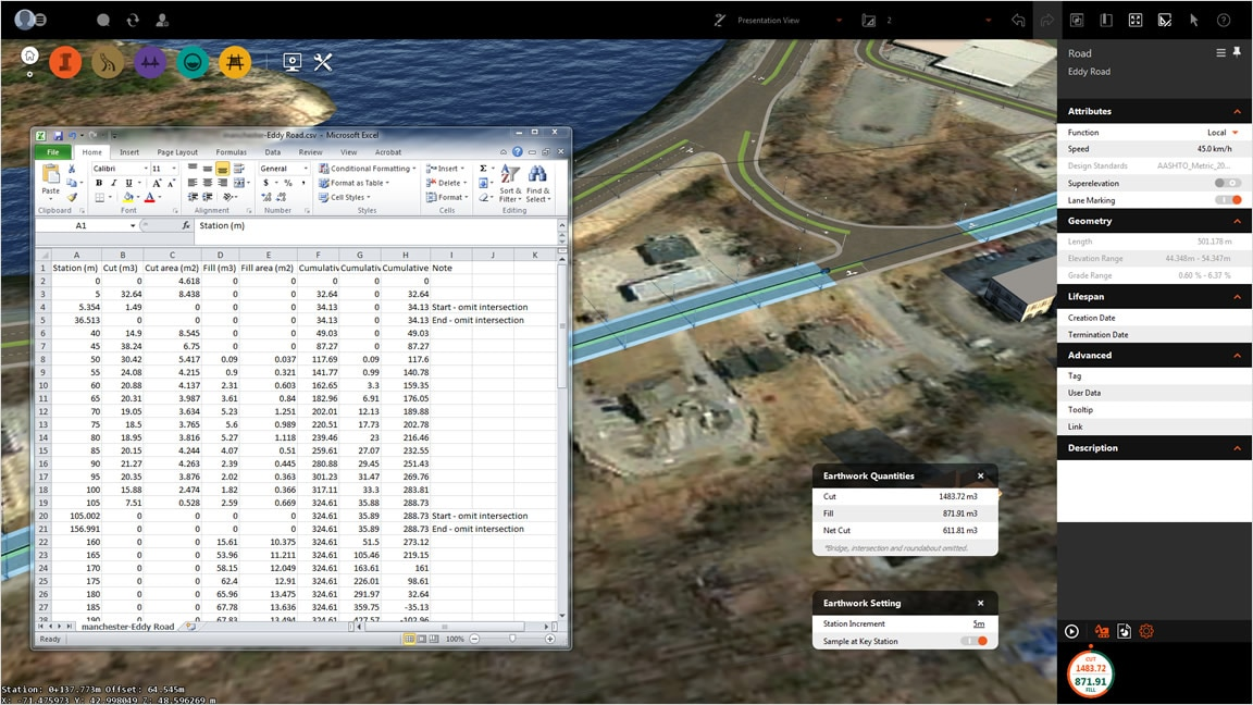 Site analysis features include filling section-based earthwork quantities
