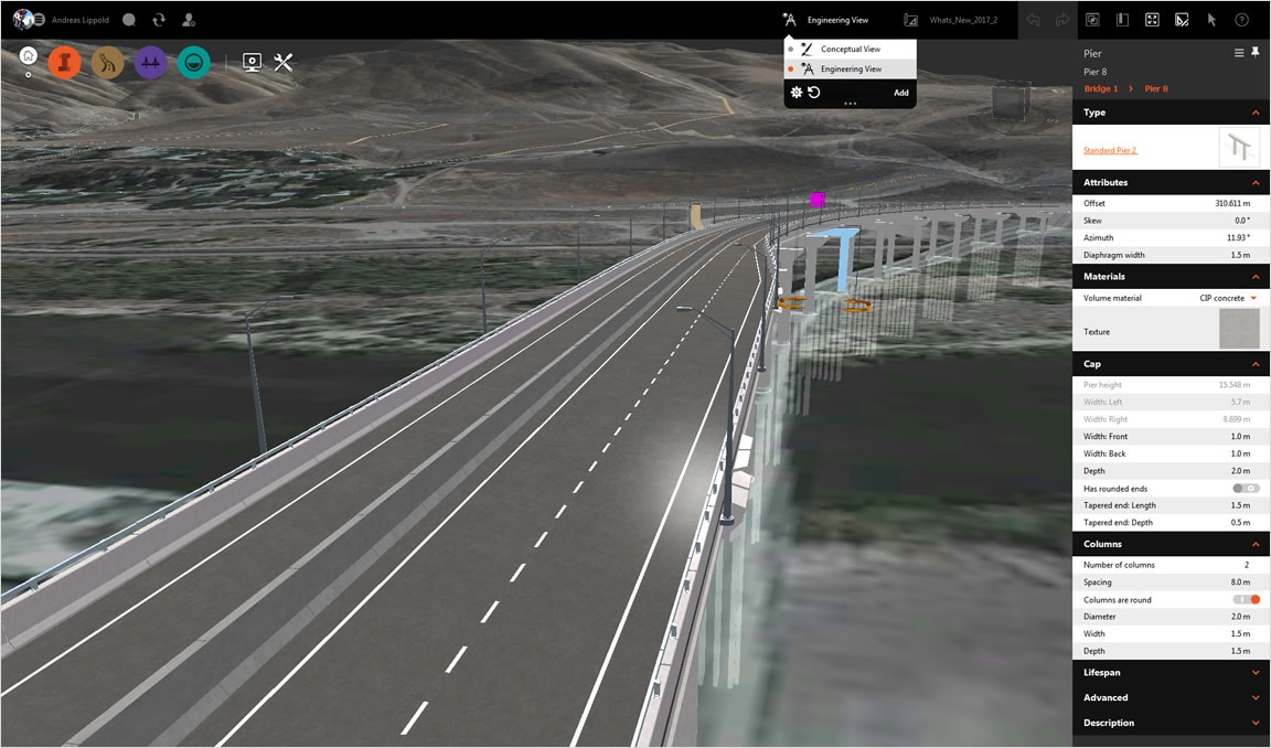 Work in conceptual, engineering, or custom views for infrastructure modeling