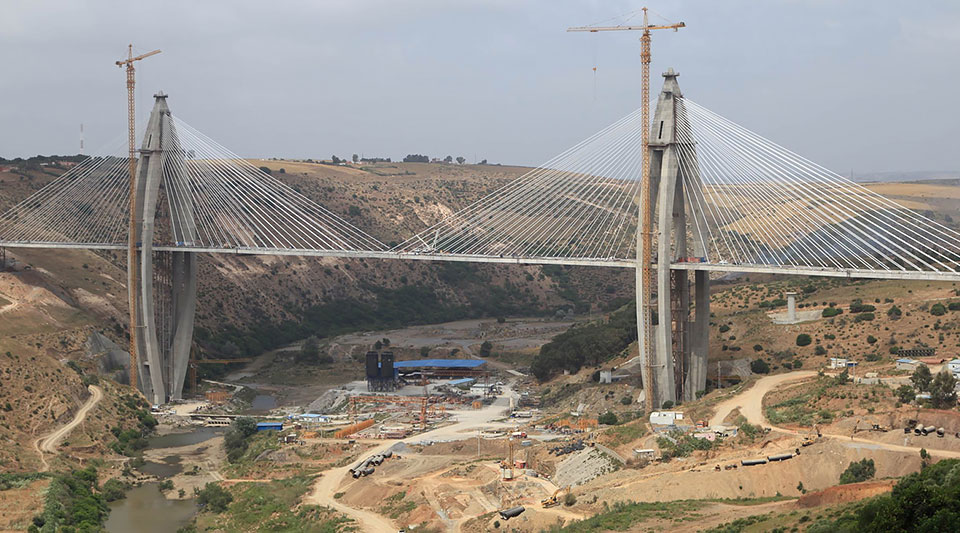The 6-lane bridge across the Bouregreg river, passing through 2 giant curved pylons