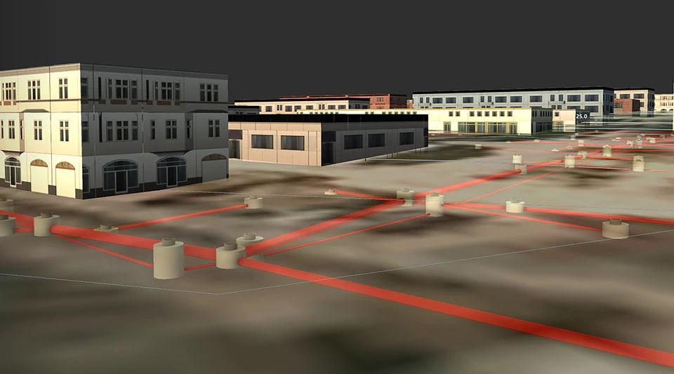 리우데자네이루의 파이프 하수 시스템을 보여주는 디지털 지형 모형