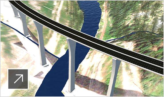 산악 지형을 통해 강 위를 지나는 상승된 도로 단면을 보여 주는 모델 상세 정보