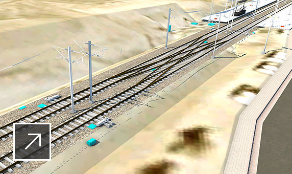 Model of light-rail transit concept with rail section and station shown in InfraWorks user interface