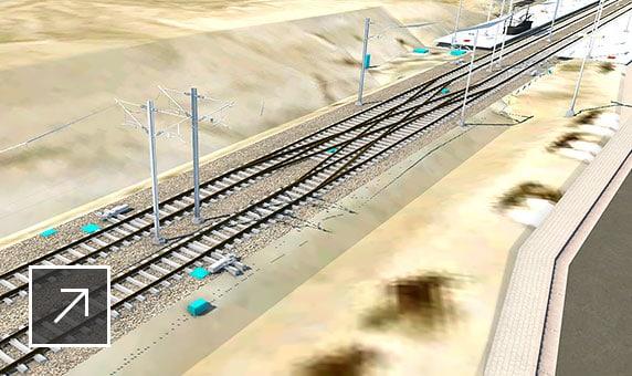 InfraWorks 사용자 인터페이스에 표시된 철도 단면 및 역사를 포함한 경전철 개념의 모델