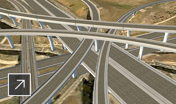 Detail view of Park Meadows highway interchange model shown in InfraWorks user interface