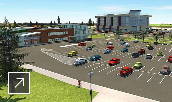 주차장, 아파트 건물, 상점 공간 및 사무실이 있는 상업용 개발 개념