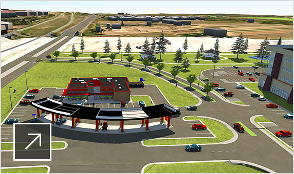Realistic 3D model of commercial development including a rest stop, gas station, and office buildings