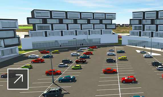 3D model of 3 freestanding buildings made of asymmetrically stacked container units with large parking lot in front