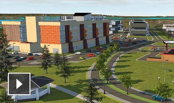 동영상: 아침부터 저녁까지 고속도로 옆 상업용 빌딩 개발 지역 및 휴게소의 저속 촬영