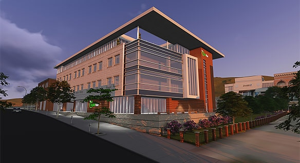 Rendering of The Wheeling building design by Mills Group with Revit and Insight