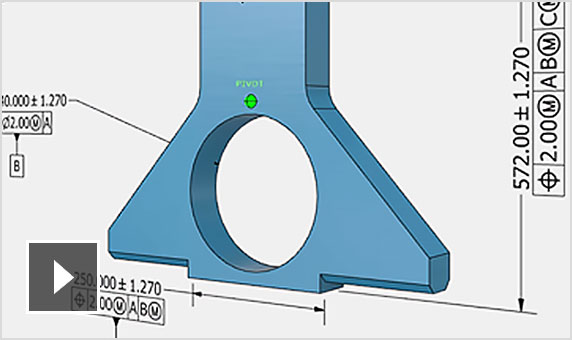 Video: A 3D model part is shown overlaid with annotated information added in Inventor LT