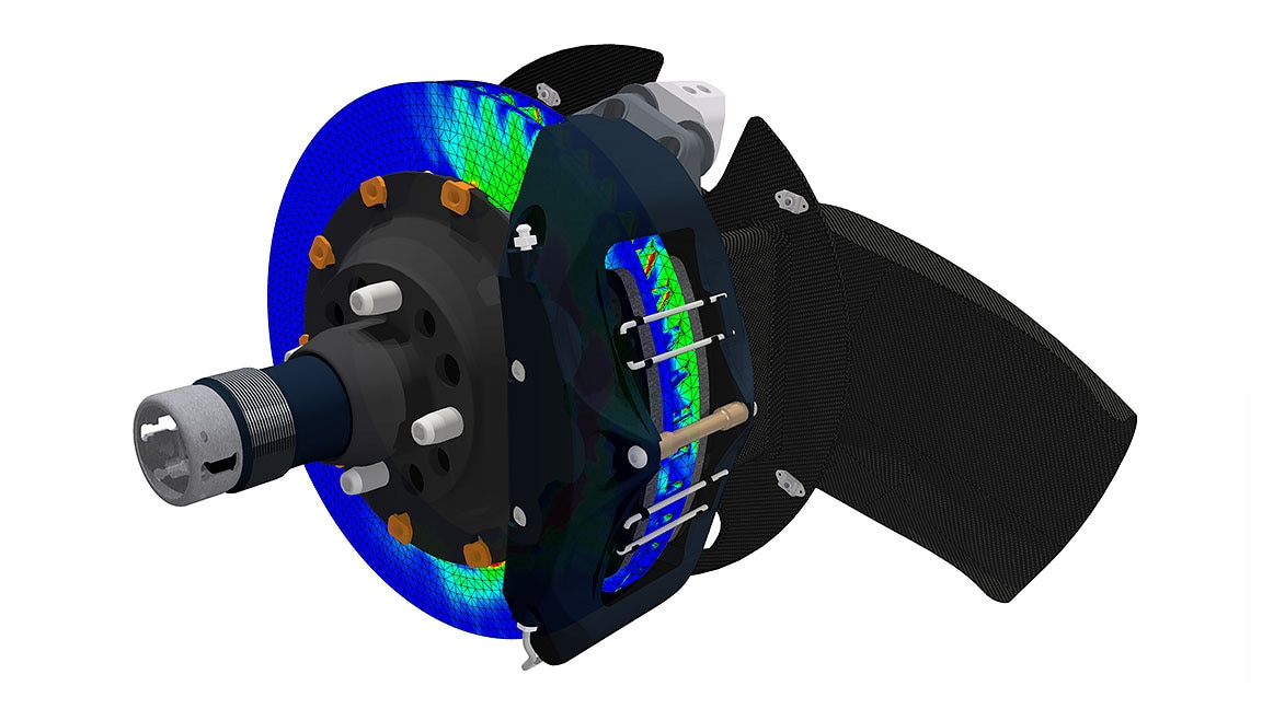 Simulation of a brake assembly in Inventor Nastran