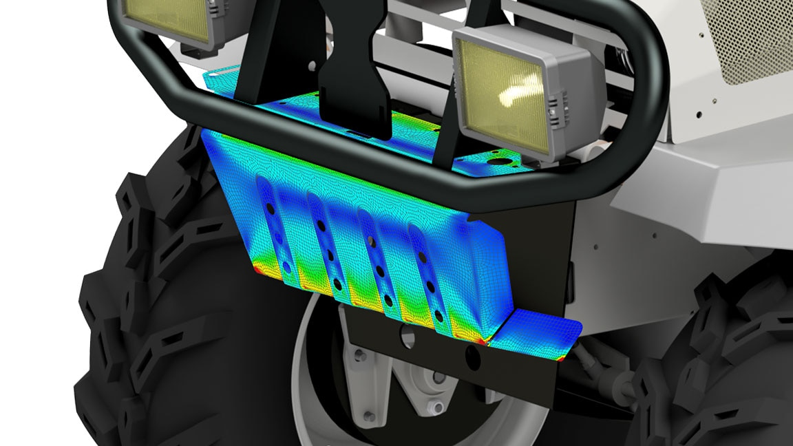 Simulation of a piece of sheet metal on the front of an ATV