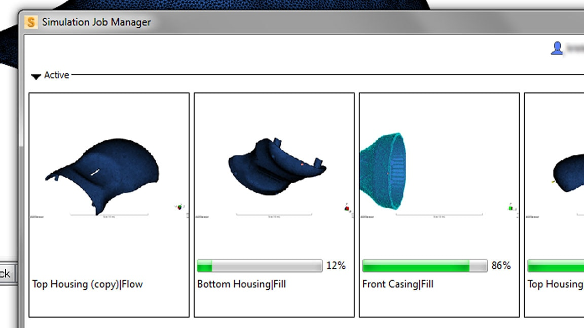 User interface of Moldflow with Analyze in Cloud dropdown selected and Simulation Job Manager and Select Analysis Type open