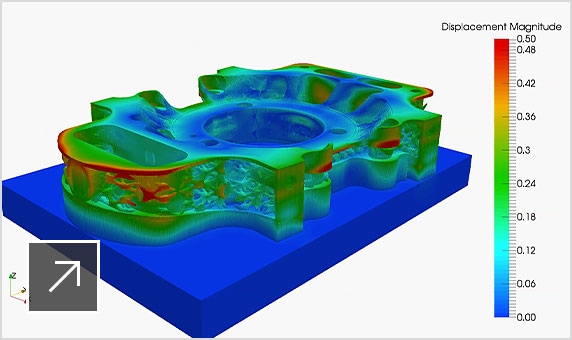 기계 부품의 Displacement 정도를 보여 주는 Netfabb의 시뮬레이션