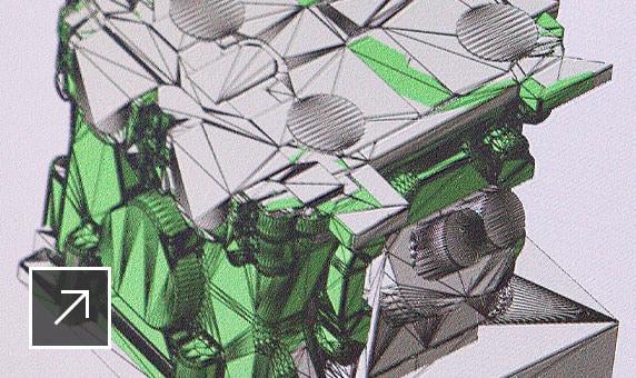 기계 부품의 3D 모델을 보여 주는 Netfabb 사용자 인터페이스