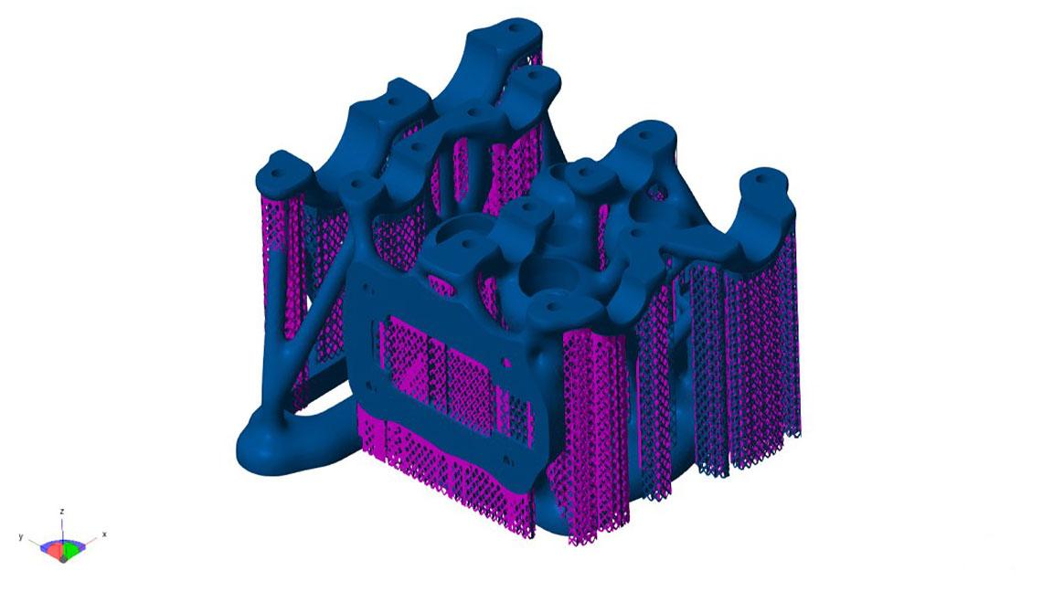 3D model of a motor in Netfabb user interface