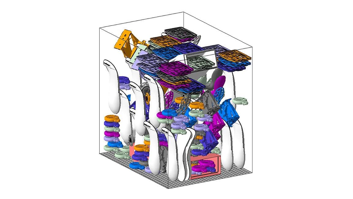 Modelo 3D de maquinaria com peças novas adicionadas através do Netfabb