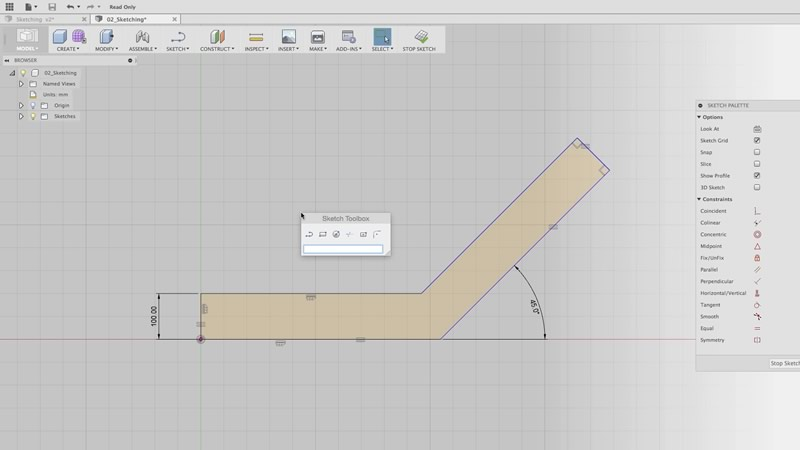 Fusion 360 sketching tutorial and training