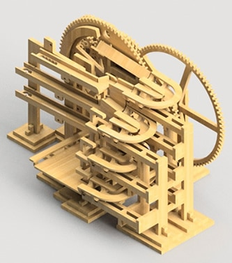 Marble machine clock modeled in Fusion 360 product design software