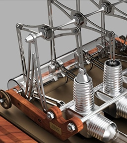 Stirling Engine modeled in Fusion 360 product design software