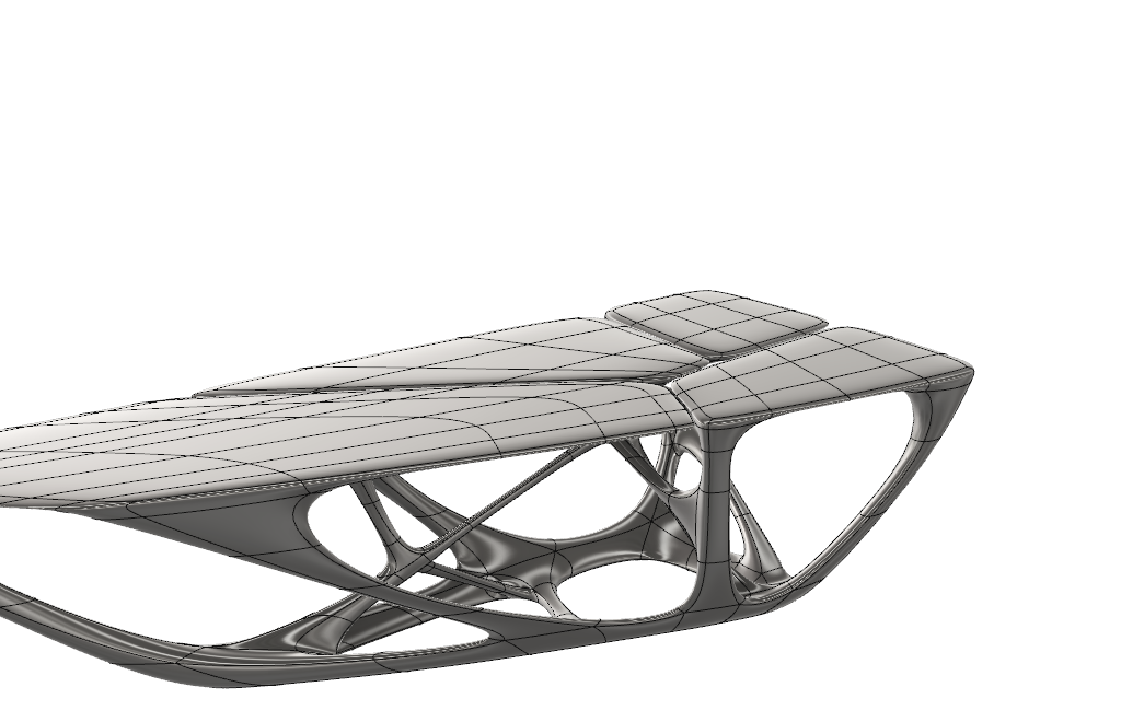 Zaha Hadid Mesa table modeled in one single T-Spline surface in Fusion 360 product design software