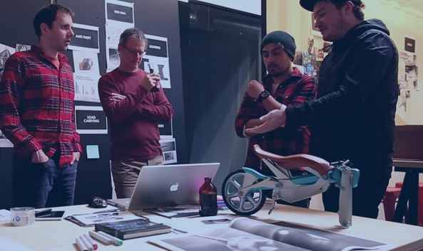 INDUSTRY PDX team collaborating on design of 3D-printed bicycle