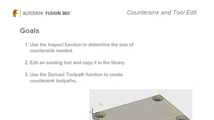 Countersink and tool edit