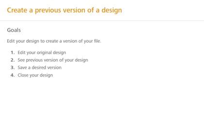 Create a previous version of a design