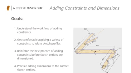 Practice how to add constraints and dimensions to sketch entities.