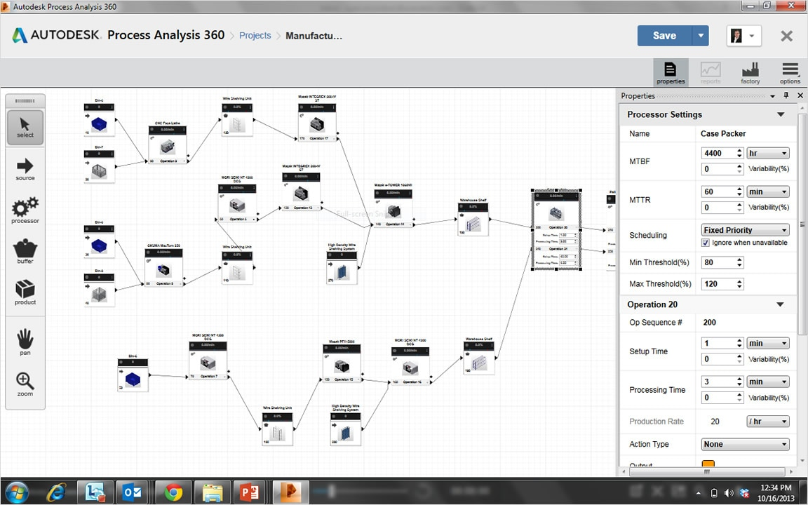 Factory Process Modeling Analysis Features Autodesk Block Diagram Editor Tool In 360