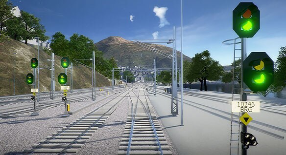 VR rendering of a signal layout on the Bergen Line