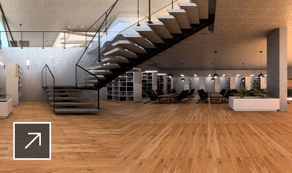 panorama rendering of room with staircase