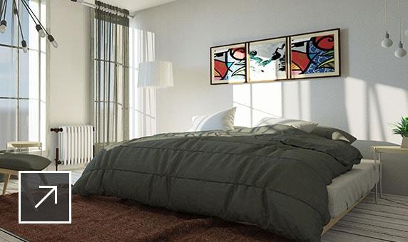 renderização realista de um quarto