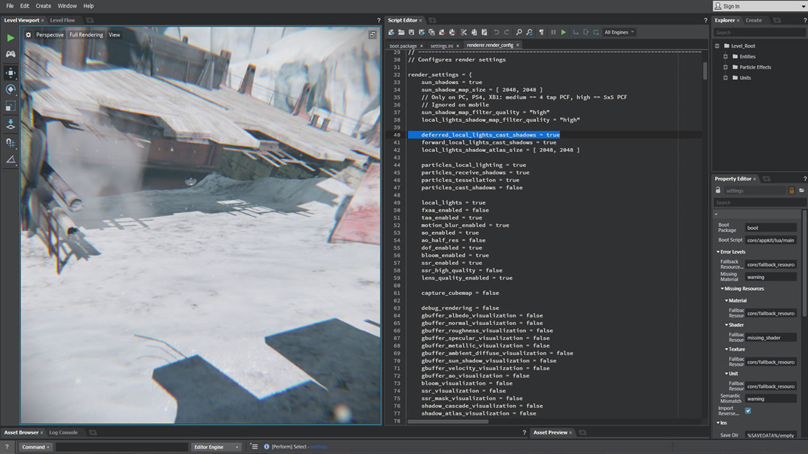 Video: Stingray's data-driven rendering pipeline lets you easily scale to large projects.