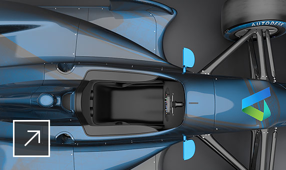 Close-up view from above of a sleek, blue race car model with Autodesk logo