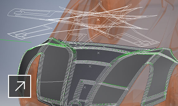 Composite design of the hood of a car in TruFiber