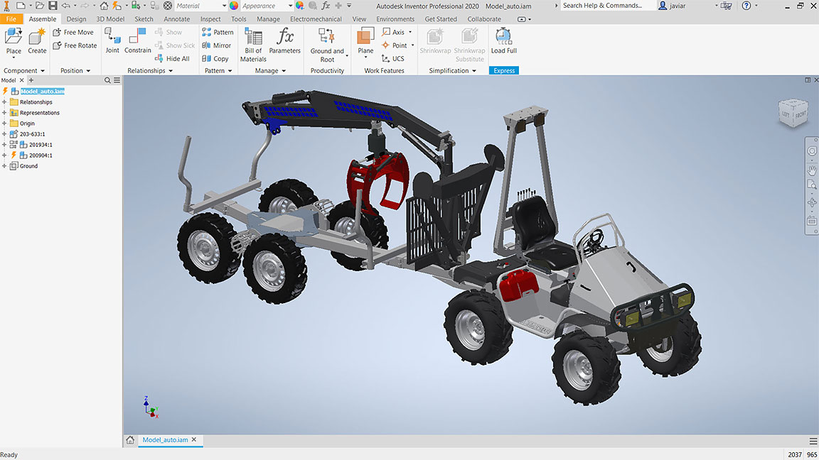 3D model of a tractor trailer in Autodesk Inventor Professional user interface