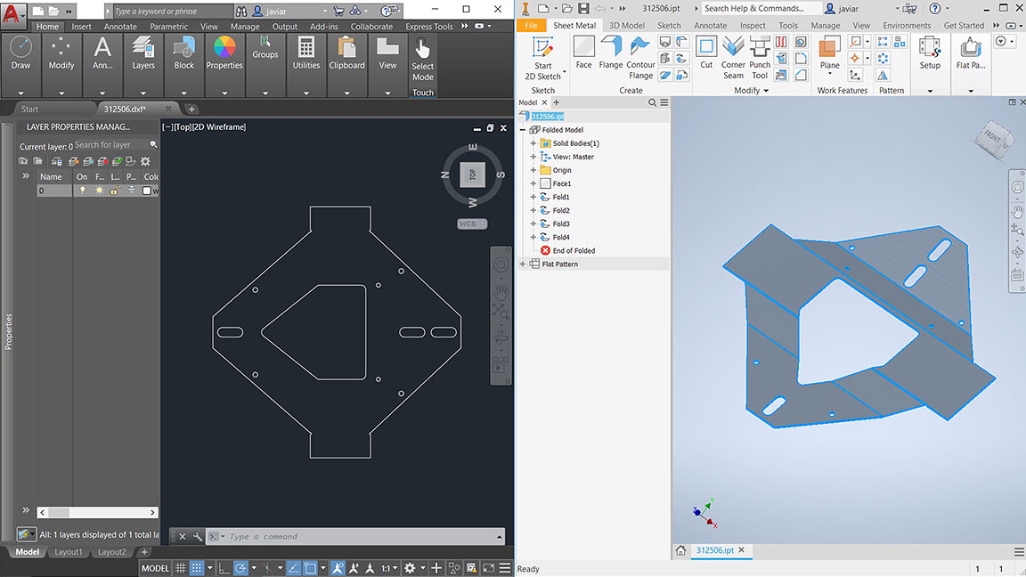 User interface of TruNest with wireframe of a manufactured part on the left and 2D model of the same part on the right