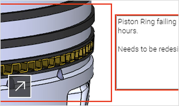 A piston with markup indicating changes needed to the piston ring