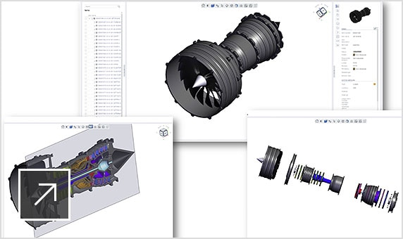 Upchain's CAD viewer showing a jet engine in 3D
