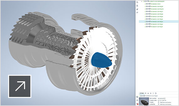 the Upchain plugin in a CAD program with a jet engine rendering visible
