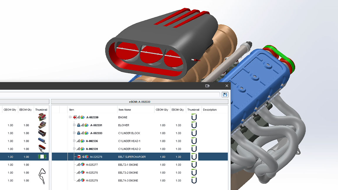 A 3D engine in CAD with a pop-out of revisions being checked in