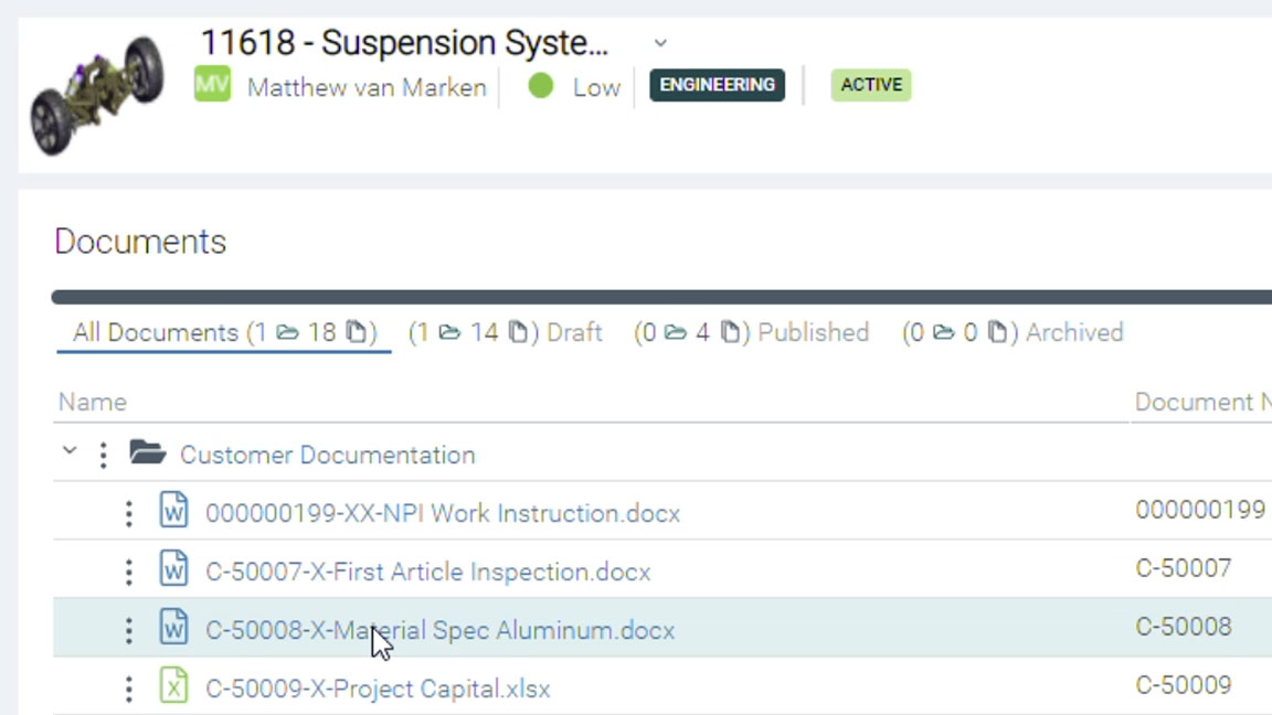 Upchain's native Word plugin on top of a suspension system with the associated document list