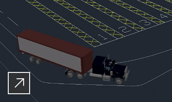 3D image of a container truck navigating a turn lane
