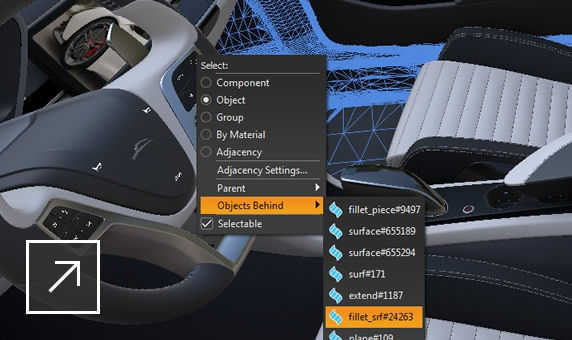 Render of the interior of a car in VRED user interface with Objects Behind and an object file selected in 2 dropdown menus