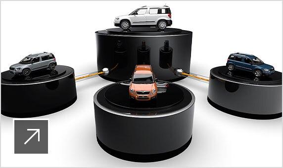 プラットフォーム上に置かれた 4 台の白の ŠKODA AUTO SUV の 3D モデル